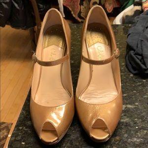 Cole Hann Gold Peeptoe Nike Air 3inch Wooden Heels